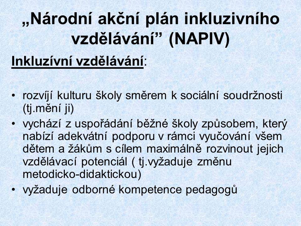 """""""Národní akční plán inkluzivního vzdělávání (NAPIV) Inkluzívní vzdělávání: •rozvíjí kulturu školy směrem k sociální soudržnosti (tj.mění ji) •vychází z uspořádání běžné školy způsobem, který nabízí adekvátní podporu v rámci vyučování všem dětem a žákům s cílem maximálně rozvinout jejich vzdělávací potenciál ( tj.vyžaduje změnu metodicko-didaktickou) •vyžaduje odborné kompetence pedagogů"""