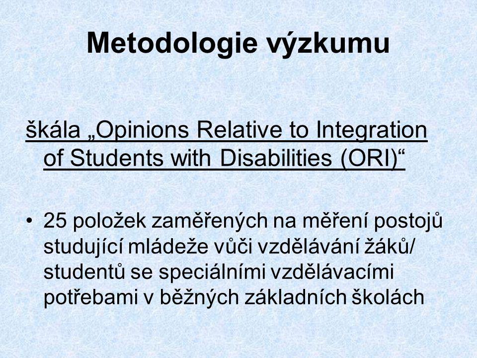 """Metodologie výzkumu škála """"Opinions Relative to Integration of Students with Disabilities (ORI) •25 položek zaměřených na měření postojů studující mládeže vůči vzdělávání žáků/ studentů se speciálními vzdělávacími potřebami v běžných základních školách"""