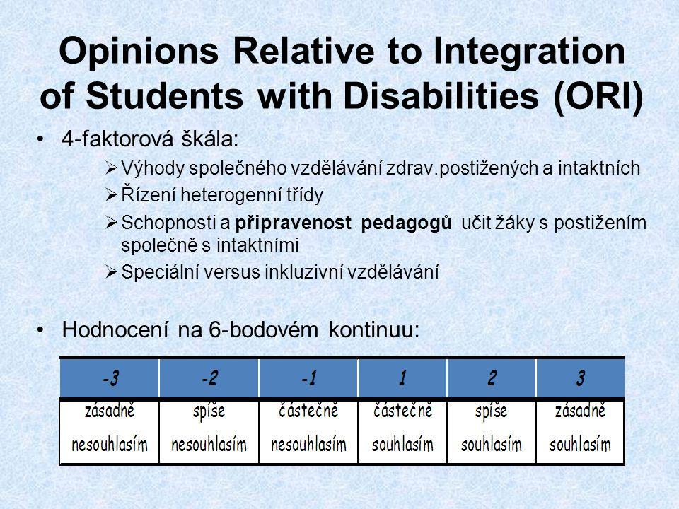 Opinions Relative to Integration of Students with Disabilities (ORI) •4-faktorová škála:  Výhody společného vzdělávání zdrav.postižených a intaktních  Řízení heterogenní třídy  Schopnosti a připravenost pedagogů učit žáky s postižením společně s intaktními  Speciální versus inkluzivní vzdělávání •Hodnocení na 6-bodovém kontinuu: