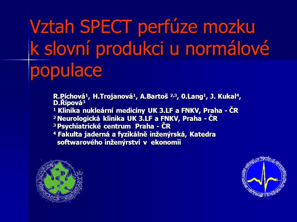 Vztah SPECT perfúze mozku k slovní produkci u normálové populace R.Píchová 1, H.Trojanová 1, A.Bartoš 2,3, 0.Lang 1, J. Kukal 4, D.Řípová 3 1 Klinika