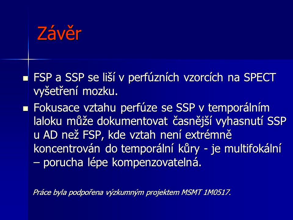 Závěr  FSP a SSP se liší v perfúzních vzorcích na SPECT vyšetření mozku.  Fokusace vztahu perfúze se SSP v temporálním laloku může dokumentovat časn
