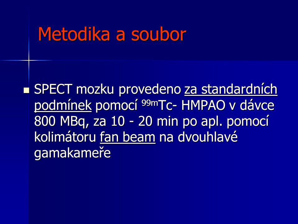 Metodika a soubor  SPECT mozku provedeno za standardních podmínek pomocí 99m Tc- HMPAO v dávce 800 MBq, za 10 - 20 min po apl. pomocí kolimátoru fan