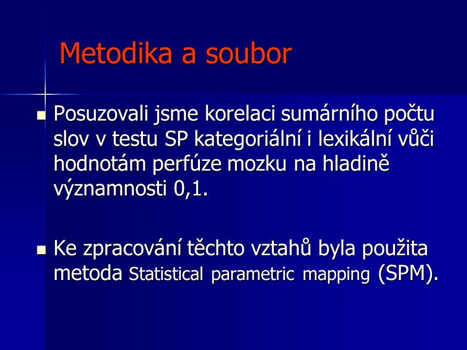 Metodika a soubor  Získané tomografické řezy byly nejprve registrovány k templatu programem SPM, poté byla tímto programem provedena statistická analýza a byly vyhledány voxely, kde perfúze významně korelovala s výsledky SP.