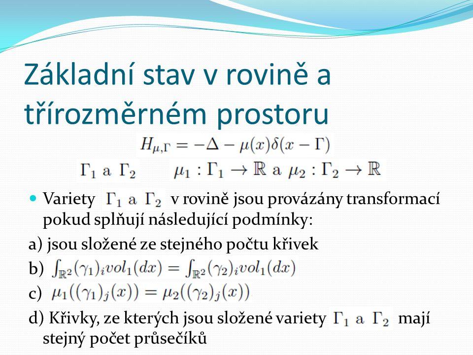 Základní stav v rovině a třírozměrném prostoru  Variety v rovině jsou provázány transformací pokud splňují následující podmínky: a) jsou složené ze stejného počtu křivek b) c) d) Křivky, ze kterých jsou složené variety mají stejný počet průsečíků