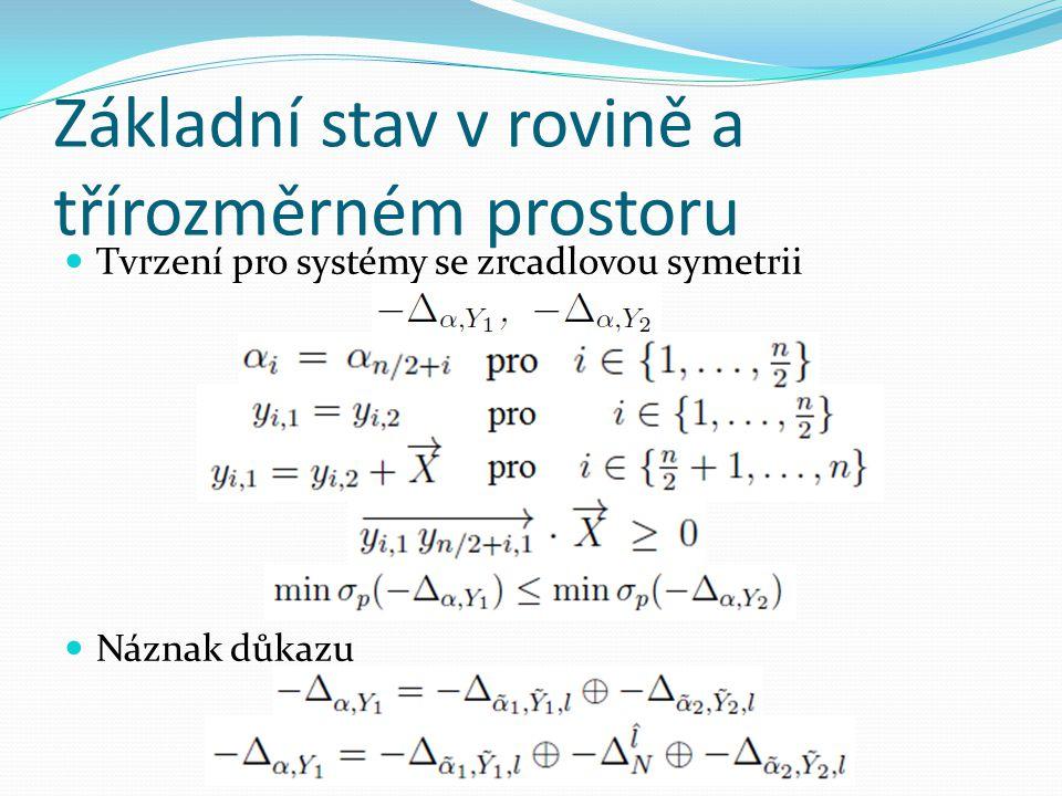 Základní stav v rovině a třírozměrném prostoru  Tvrzení pro systémy se vícečetnou symetrii  Náznak důkazu