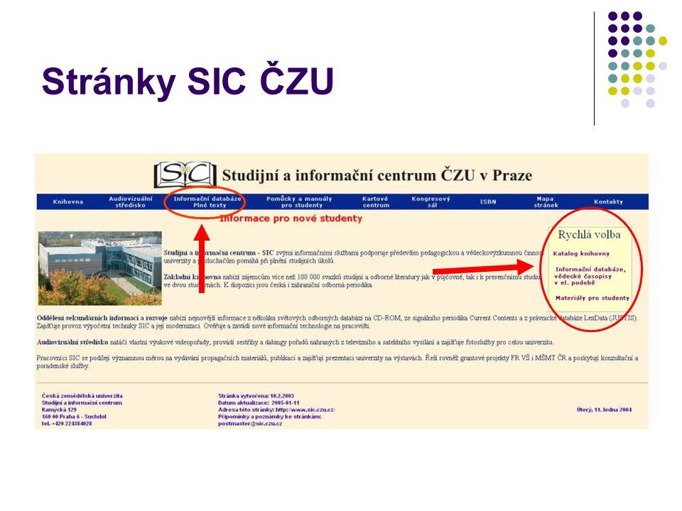 Stránky SIC ČZU