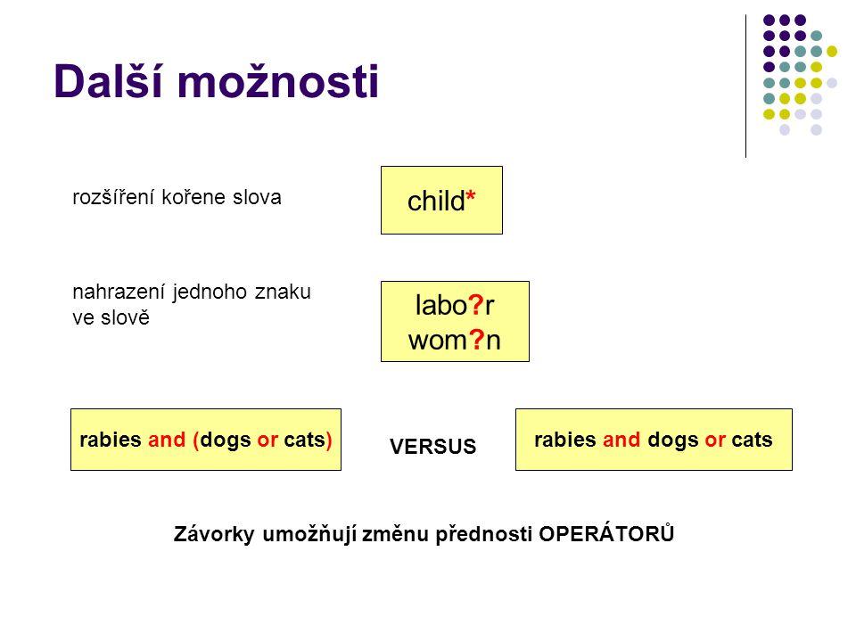 child* labo?r wom?n rozšíření kořene slova nahrazení jednoho znaku ve slově Další možnosti Závorky umožňují změnu přednosti OPERÁTORŮ VERSUS rabies an