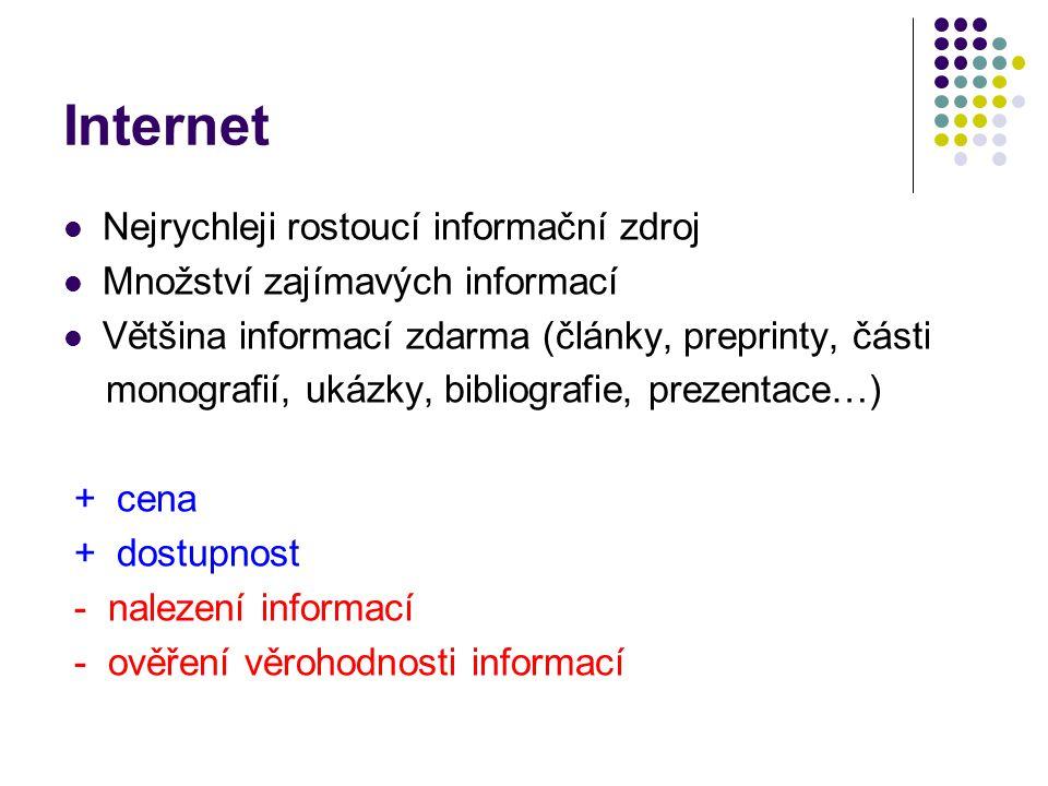 Internet  Nejrychleji rostoucí informační zdroj  Množství zajímavých informací  Většina informací zdarma (články, preprinty, části monografií, ukáz