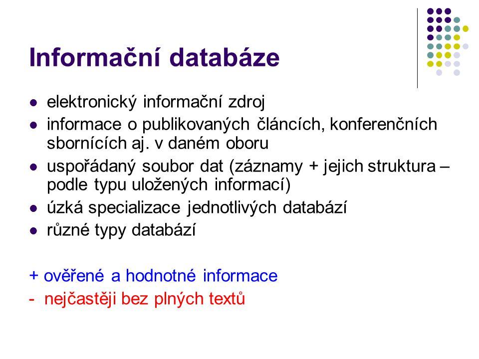 Informační databáze  elektronický informační zdroj  informace o publikovaných článcích, konferenčních sbornících aj. v daném oboru  uspořádaný soub