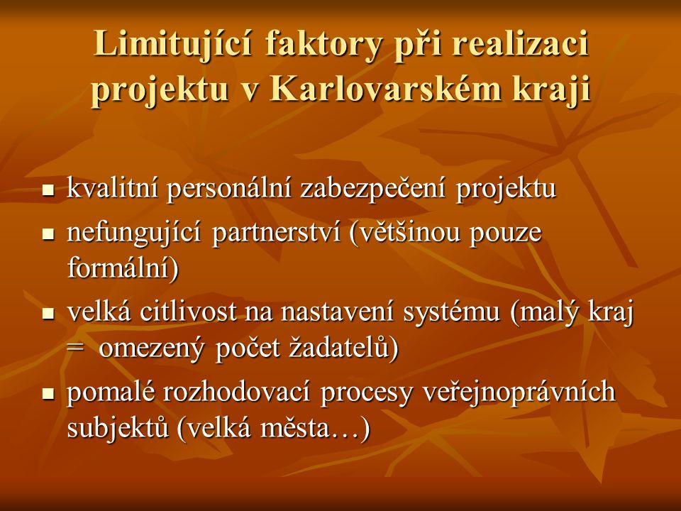 Limitující faktory při realizaci projektu v Karlovarském kraji  kvalitní personální zabezpečení projektu  nefungující partnerství (většinou pouze formální)  velká citlivost na nastavení systému (malý kraj = omezený počet žadatelů)  pomalé rozhodovací procesy veřejnoprávních subjektů (velká města…)