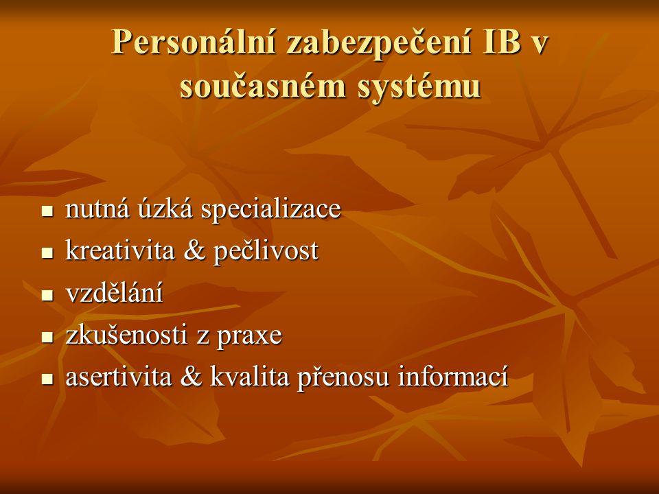 Personální zabezpečení IB v současném systému  nutná úzká specializace  kreativita & pečlivost  vzdělání  zkušenosti z praxe  asertivita & kvalita přenosu informací