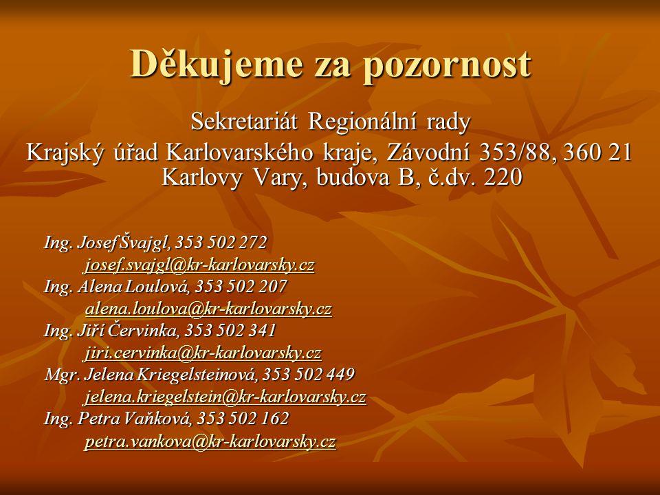 Děkujeme za pozornost Sekretariát Regionální rady Krajský úřad Karlovarského kraje, Závodní 353/88, 360 21 Karlovy Vary, budova B, č.dv.