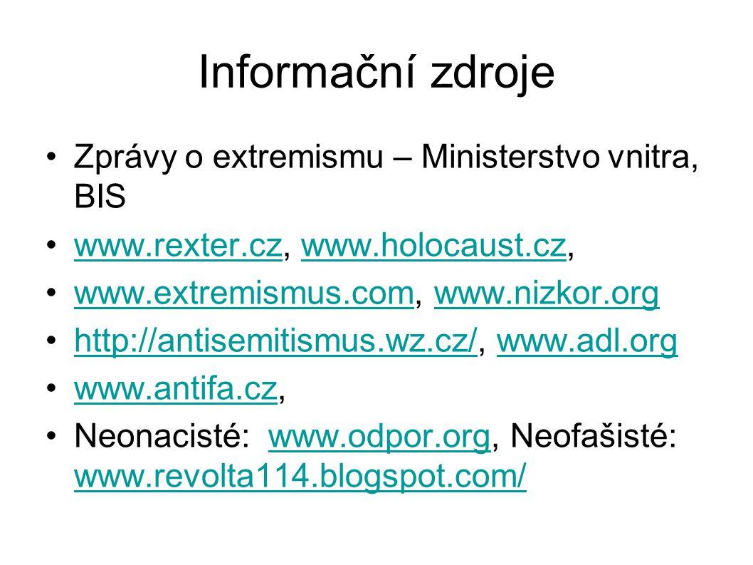 Informační zdroje •Zprávy o extremismu – Ministerstvo vnitra, BIS •www.rexter.cz, www.holocaust.cz,www.rexter.czwww.holocaust.cz •www.extremismus.com,