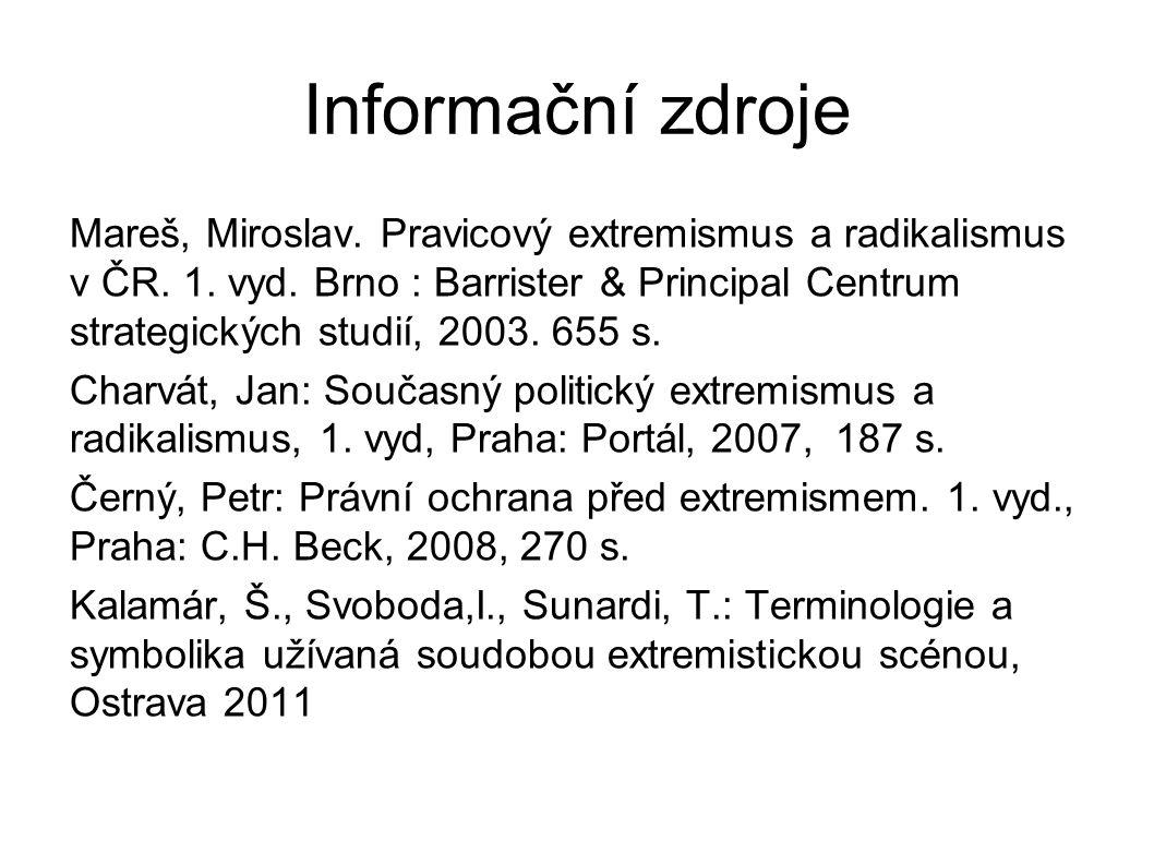 Informační zdroje Mareš, Miroslav. Pravicový extremismus a radikalismus v ČR. 1. vyd. Brno : Barrister & Principal Centrum strategických studií, 2003.