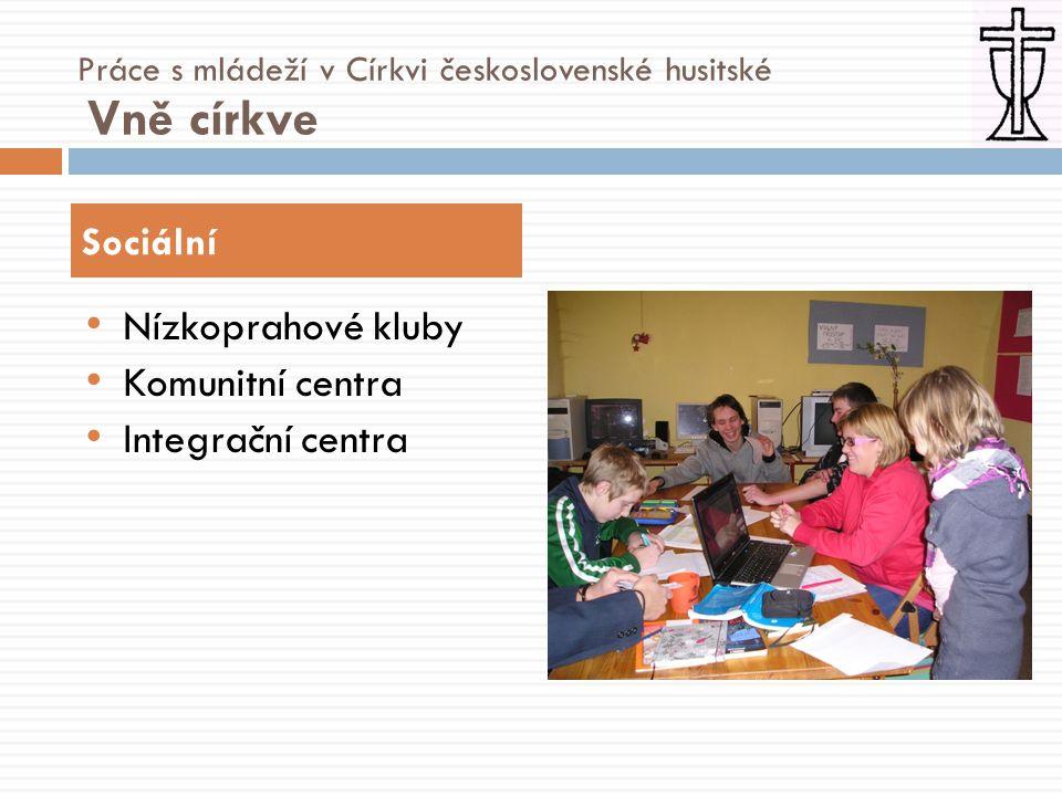 • Nízkoprahové kluby • Komunitní centra • Integrační centra Sociální Práce s mládeží v Církvi československé husitské Vně církve