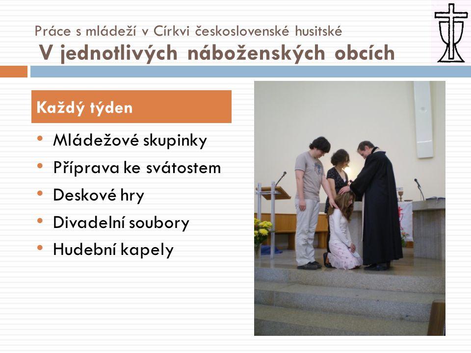 • Mládežové skupinky • Příprava ke svátostem • Deskové hry • Divadelní soubory • Hudební kapely Každý týden Práce s mládeží v Církvi československé husitské V jednotlivých náboženských obcích