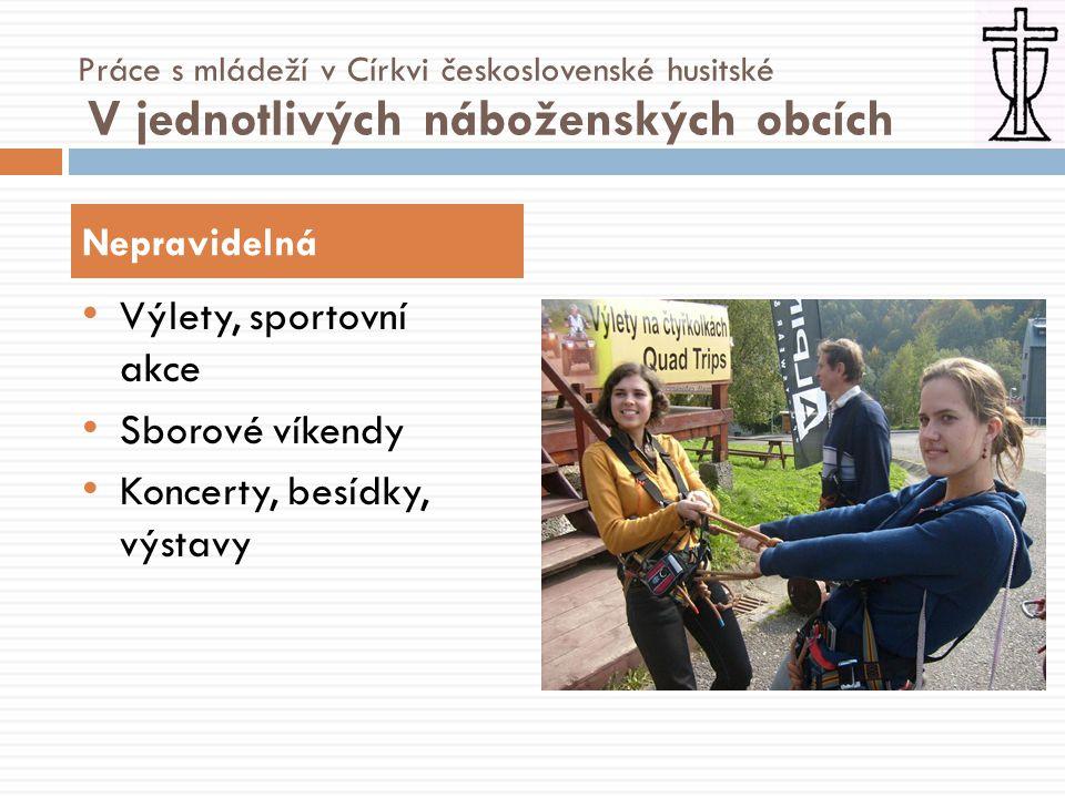 • Výuka náboženství a etiky • Výuka náboženství v dětských domovech • Volnočasové kluby • Ekologická iniciativa Misijní a osvětová Práce s mládeží v Církvi československé husitské Vně církve