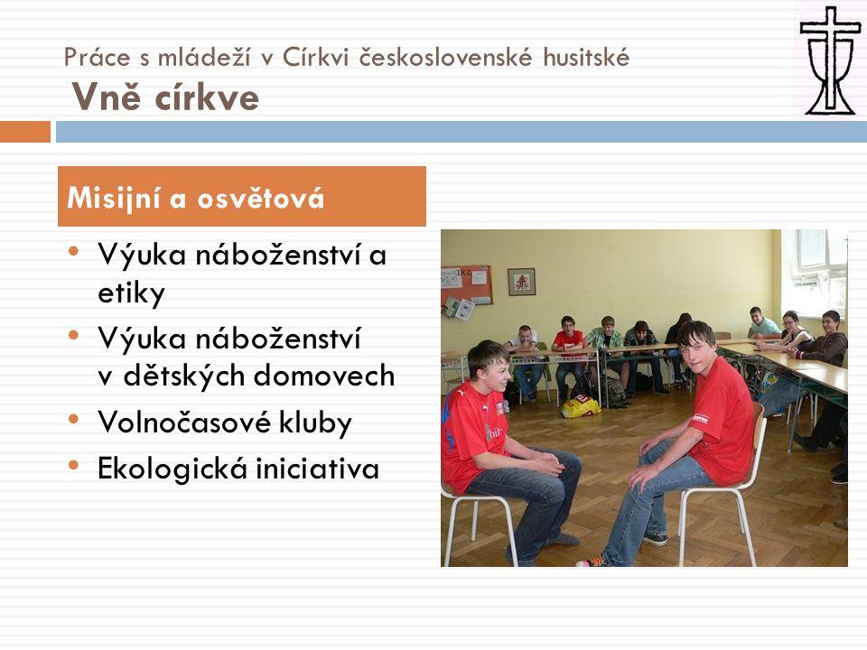 • Hudební škola • Husův institut teologických studií • Spolupráce s HTF UK Vzdělávací Práce s mládeží v Církvi československé husitské Vně církve