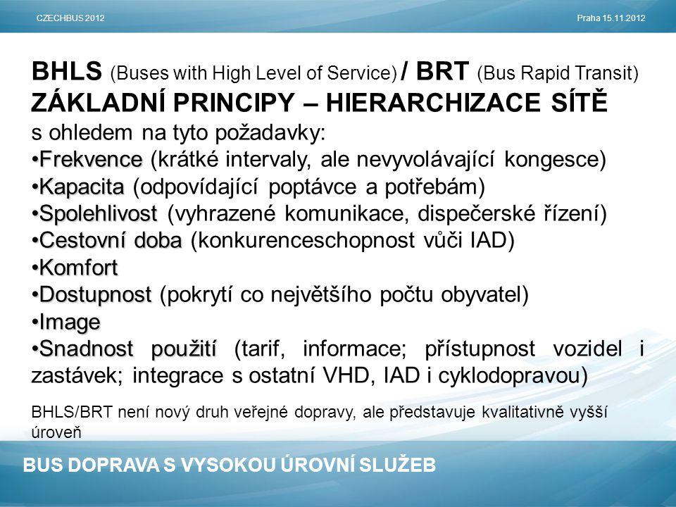 BUS DOPRAVA S VYSOKOU ÚROVNÍ SLUŽEB BHLS (Buses with High Level of Service) / BRT (Bus Rapid Transit) ZÁKLADNÍ PRINCIPY – HIERARCHIZACE SÍTĚ s ohledem na tyto požadavky: •Frekvence •Frekvence (krátké intervaly, ale nevyvolávající kongesce) •Kapacita •Kapacita (odpovídající poptávce a potřebám) •Spolehlivost •Spolehlivost (vyhrazené komunikace, dispečerské řízení) •Cestovní doba •Cestovní doba (konkurenceschopnost vůči IAD) •Komfort •Dostupnost •Dostupnost (pokrytí co největšího počtu obyvatel) •Image •Snadnost použití •Snadnost použití (tarif, informace; přístupnost vozidel i zastávek; integrace s ostatní VHD, IAD i cyklodopravou) BHLS/BRT není nový druh veřejné dopravy, ale představuje kvalitativně vyšší úroveň CZECHBUS 2012Praha 15.11.2012