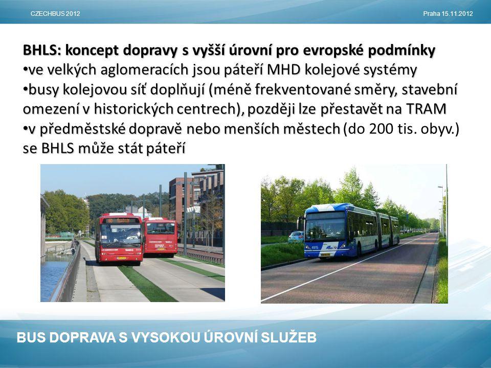 BUS DOPRAVA S VYSOKOU ÚROVNÍ SLUŽEB BHLS: koncept dopravy s vyšší úrovní pro evropské podmínky • ve velkých aglomeracích jsou páteří MHD kolejové systémy • busy kolejovou síť doplňují (méně frekventované směry, stavební omezení v historických centrech), později lze přestavět na TRAM • v předměstské dopravě nebo menších městech se BHLS může stát páteří • v předměstské dopravě nebo menších městech (do 200 tis.