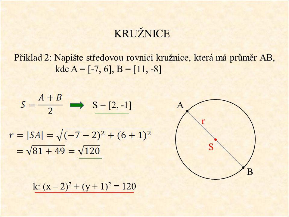 KRUŽNICE Příklad 2: Napište středovou rovnici kružnice, která má průměr AB, kde A = [-7, 6], B = [11, -8] A B S r S = [2, -1] k: (x – 2) 2 + (y + 1) 2 = 120