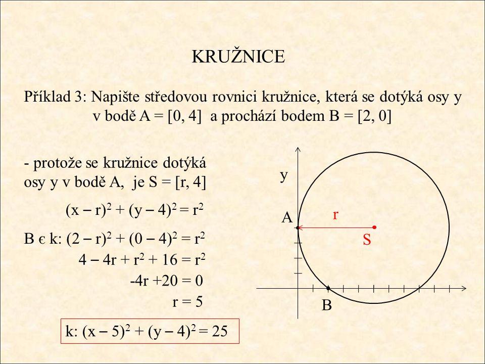 KRUŽNICE Příklad 3: Napište středovou rovnici kružnice, která se dotýká osy y v bodě A = [0, 4] a prochází bodem B = [2, 0] A B S y (x – r) 2 + (y – 4) 2 = r 2 r - protože se kružnice dotýká osy y v bodě A, je S = [r, 4] B є k: (2 – r) 2 + (0 – 4) 2 = r 2 4 – 4r + r 2 + 16 = r 2 r = 5 -4r +20 = 0 k: (x – 5) 2 + (y – 4) 2 = 25