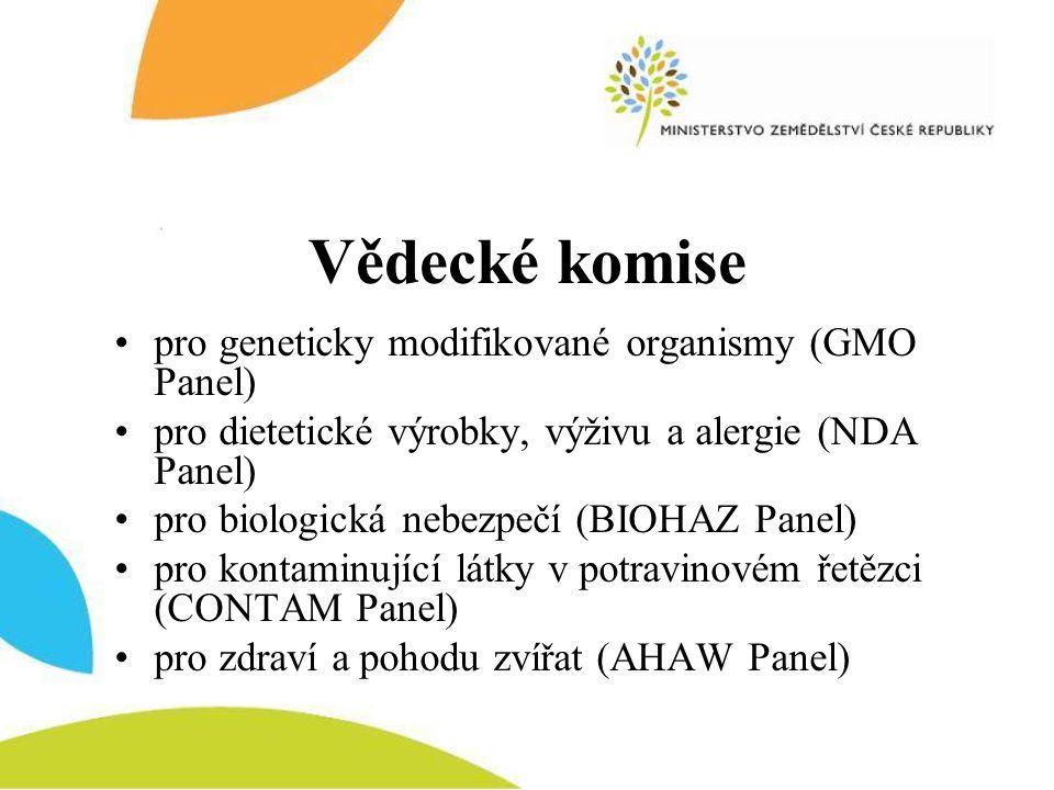 Vědecké komise •pro geneticky modifikované organismy (GMO Panel) •pro dietetické výrobky, výživu a alergie (NDA Panel) •pro biologická nebezpečí (BIOH