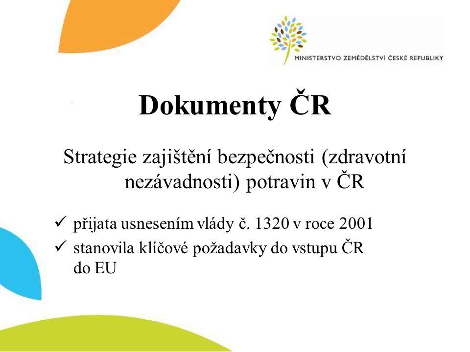 Dokumenty ČR Strategie zajištění bezpečnosti (zdravotní nezávadnosti) potravin v ČR  přijata usnesením vlády č. 1320 v roce 2001  stanovila klíčové