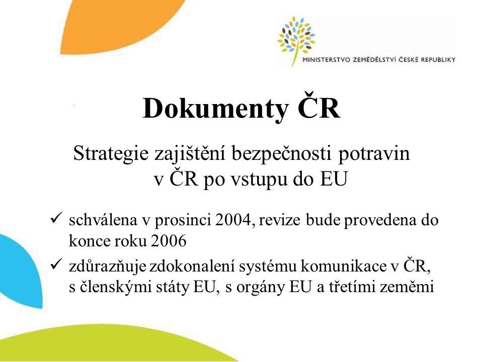 Dokumenty ČR Strategie zajištění bezpečnosti potravin v ČR po vstupu do EU  schválena v prosinci 2004, revize bude provedena do konce roku 2006  zdů