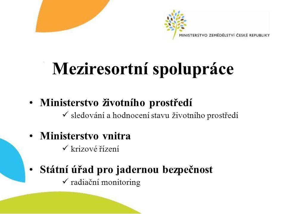 Meziresortní spolupráce •Ministerstvo životního prostředí  sledování a hodnocení stavu životního prostředí •Ministerstvo vnitra  krizové řízení •Stá