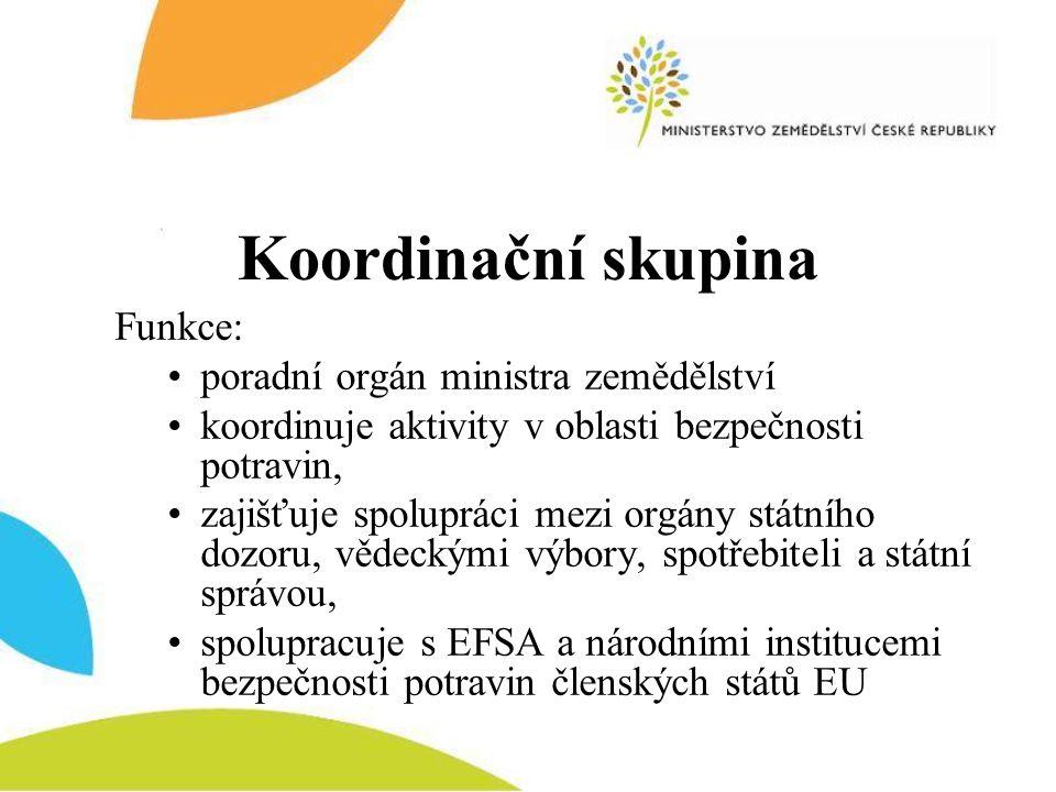Koordinační skupina Funkce: •poradní orgán ministra zemědělství •koordinuje aktivity v oblasti bezpečnosti potravin, •zajišťuje spolupráci mezi orgány