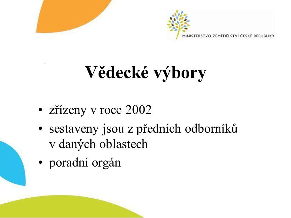 Vědecké výbory •zřízeny v roce 2002 •sestaveny jsou z předních odborníků v daných oblastech •poradní orgán