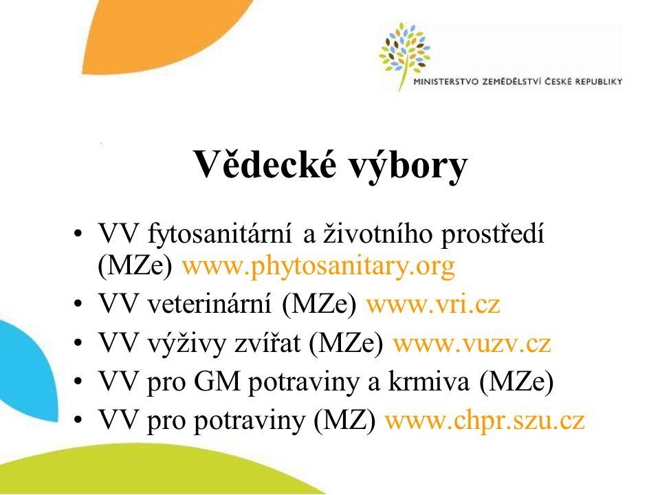 Vědecké výbory •VV fytosanitární a životního prostředí (MZe) www.phytosanitary.org •VV veterinární (MZe) www.vri.cz •VV výživy zvířat (MZe) www.vuzv.c