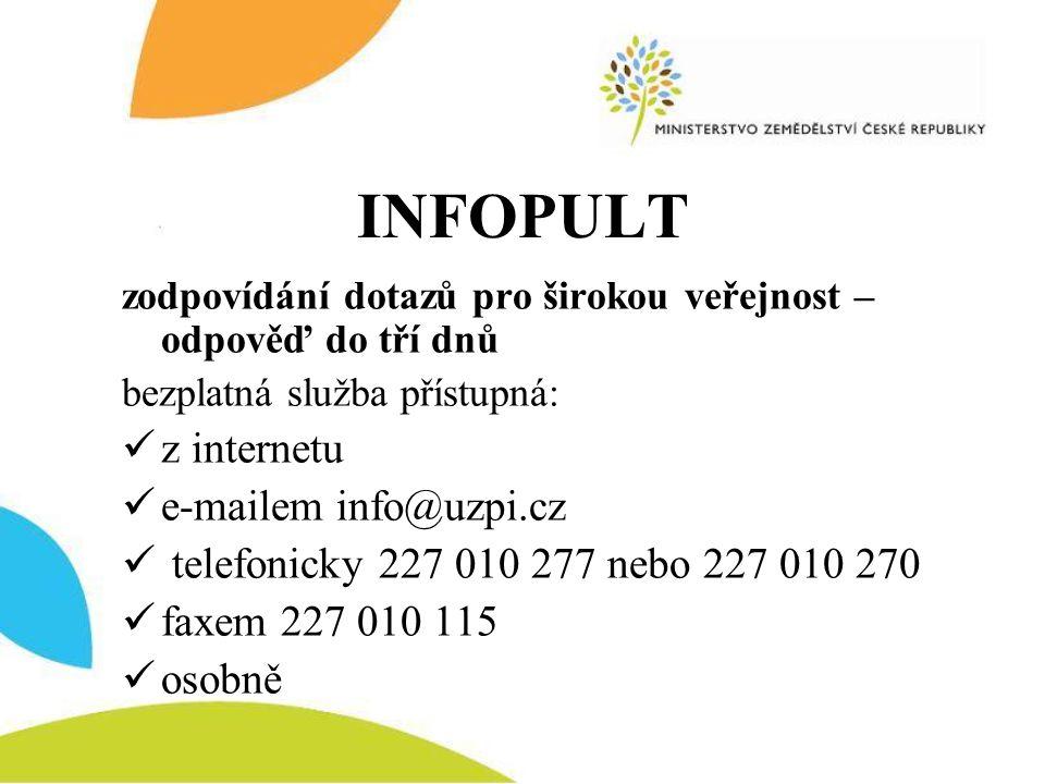 INFOPULT zodpovídání dotazů pro širokou veřejnost – odpověď do tří dnů bezplatná služba přístupná:  z internetu  e-mailem info@uzpi.cz  telefonicky