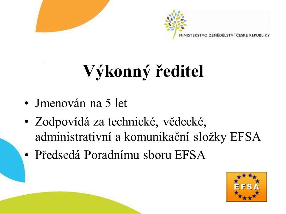 Výkonný ředitel •Jmenován na 5 let •Zodpovídá za technické, vědecké, administrativní a komunikační složky EFSA •Předsedá Poradnímu sboru EFSA