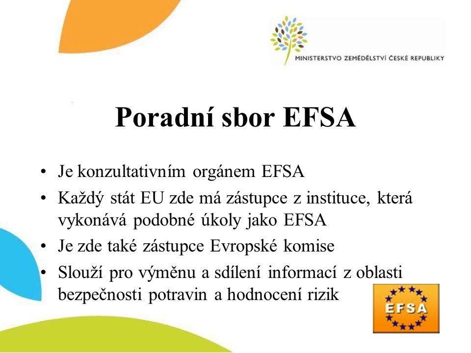 Poradní sbor EFSA •Je konzultativním orgánem EFSA •Každý stát EU zde má zástupce z instituce, která vykonává podobné úkoly jako EFSA •Je zde také zást