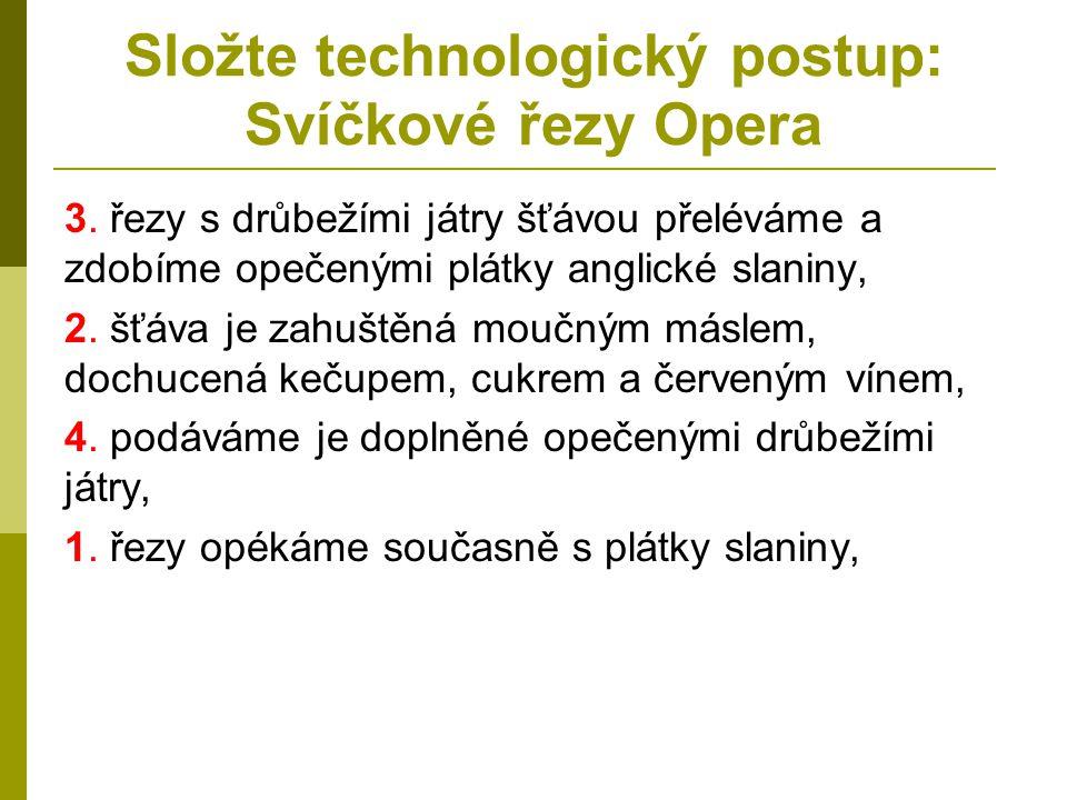 Složte technologický postup: Svíčkové řezy Opera 3. řezy s drůbežími játry šťávou přeléváme a zdobíme opečenými plátky anglické slaniny, 2. šťáva je z