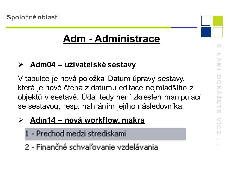 S NÁMI DOKÁŽETE VÍCE... Spoločné oblasti Adm - Administrace  Adm04 – uživatelské sestavy V tabulce je nová položka Datum úpravy sestavy, která je nov