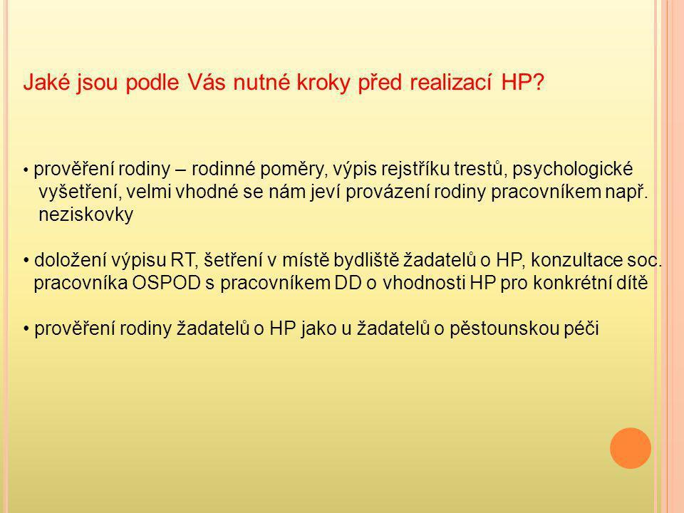 Jaké jsou podle Vás nutné kroky před realizací HP? • prověření rodiny – rodinné poměry, výpis rejstříku trestů, psychologické vyšetření, velmi vhodné