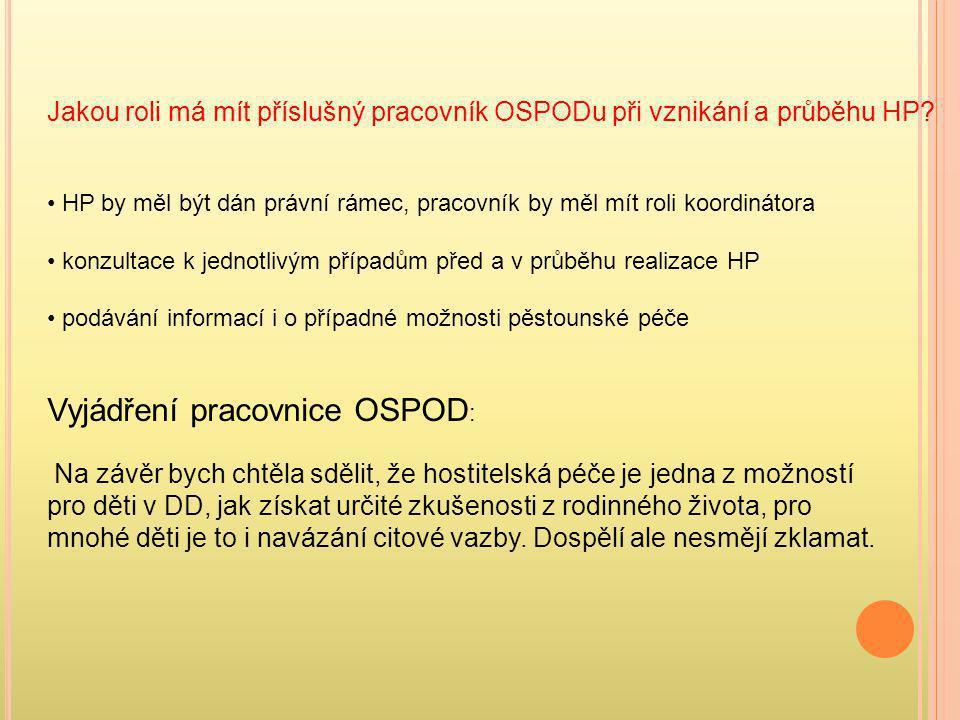 Jakou roli má mít příslušný pracovník OSPODu při vznikání a průběhu HP? • HP by měl být dán právní rámec, pracovník by měl mít roli koordinátora • kon