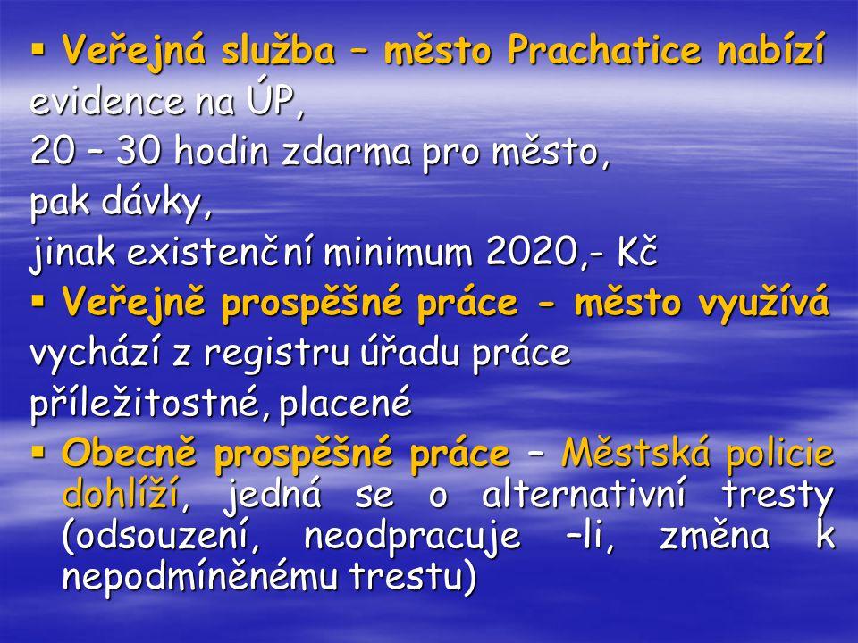  Veřejná služba – město Prachatice nabízí evidence na ÚP, 20 – 30 hodin zdarma pro město, pak dávky, jinak existenční minimum 2020,- Kč  Veřejně pro