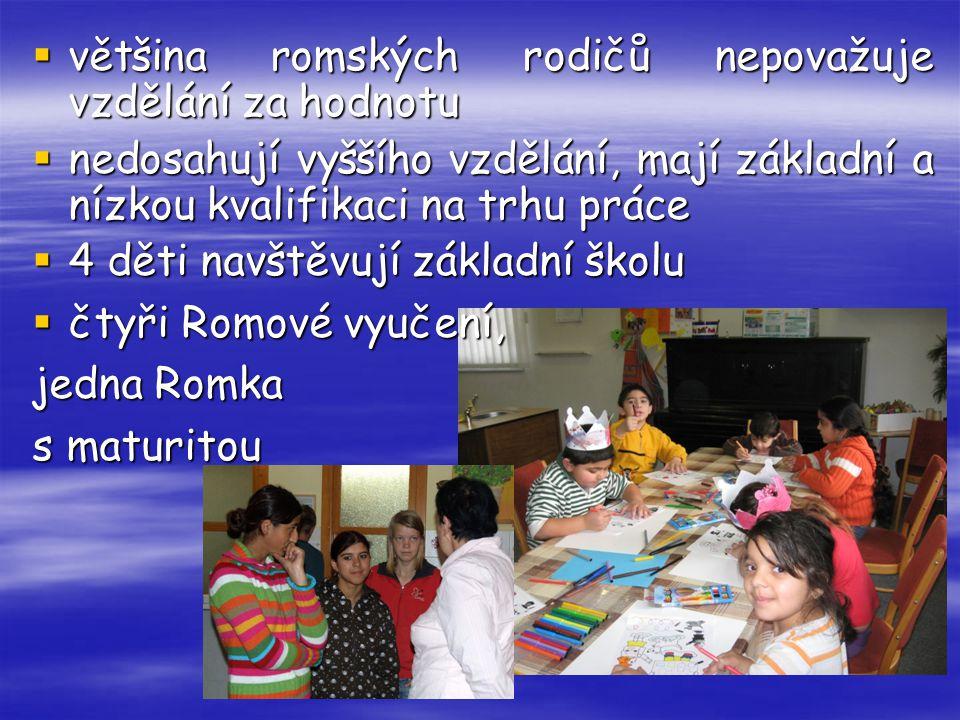  většina romských rodičů nepovažuje vzdělání za hodnotu  nedosahují vyššího vzdělání, mají základní a nízkou kvalifikaci na trhu práce  4 děti navš