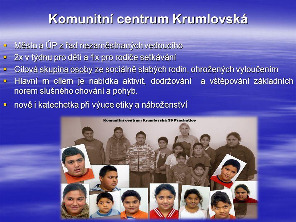 Komunitní centrum Krumlovská  Město a ÚP z řad nezaměstnaných vedoucího  2x v týdnu pro děti a 1x pro rodiče setkávání  Cílová skupina osoby ze soc