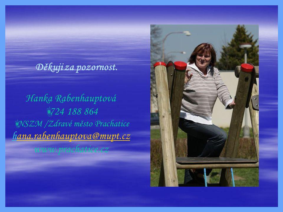 Děkuji za pozornost. Hanka Rabenhauptová  724 188 864  NSZM /Zdravé město Prachatice hana.rabenhauptova@mupt.czana.rabenhauptova@mupt.cz www.prachat