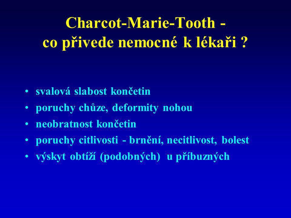 Charcot-Marie-Tooth - co přivede nemocné k lékaři ? •svalová slabost končetin •poruchy chůze, deformity nohou •neobratnost končetin •poruchy citlivost