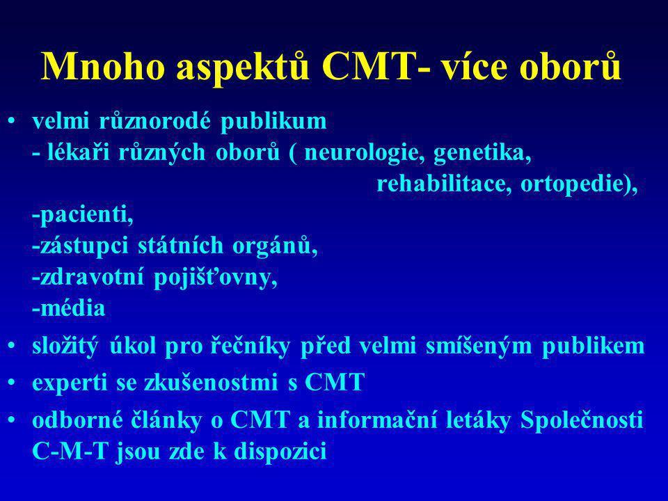 Mnoho aspektů CMT- více oborů •velmi různorodé publikum - lékaři různých oborů ( neurologie, genetika, rehabilitace, ortopedie), -pacienti, -zástupci