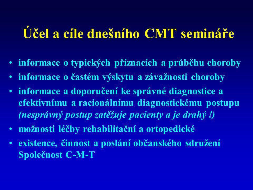 Účel a cíle dnešního CMT semináře •informace o typických příznacích a průběhu choroby •informace o častém výskytu a závažnosti choroby •informace a do