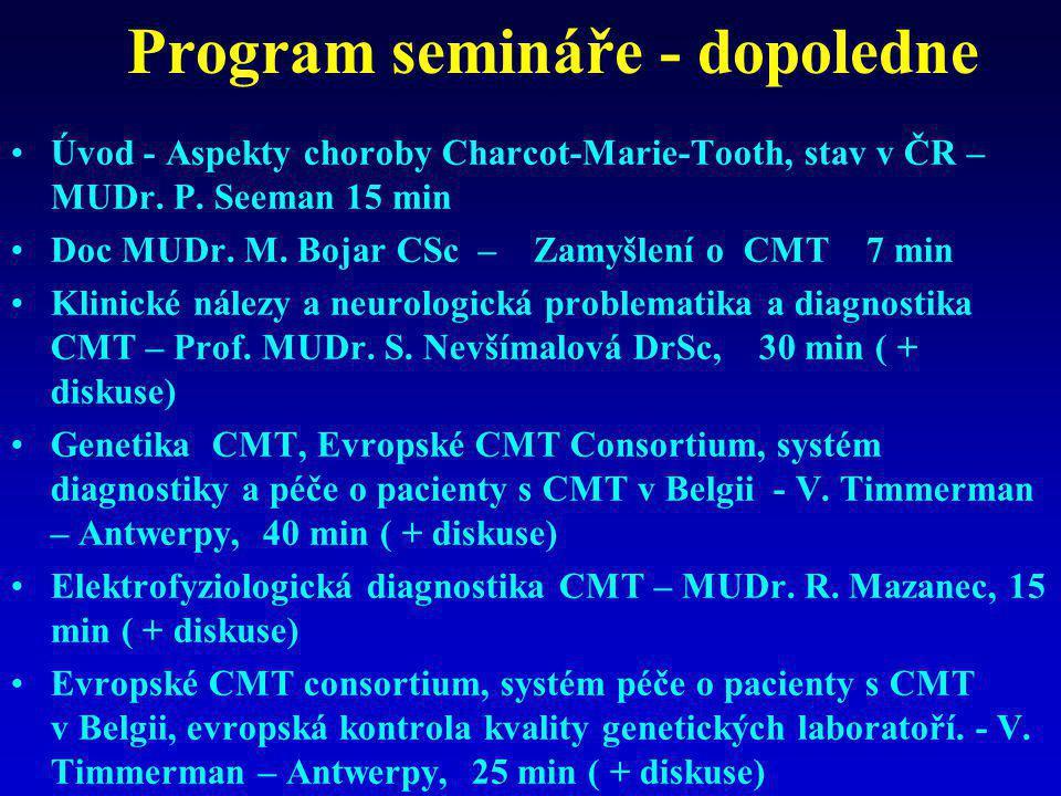 Program semináře - dopoledne •Úvod - Aspekty choroby Charcot-Marie-Tooth, stav v ČR – MUDr. P. Seeman 15 min •Doc MUDr. M. Bojar CSc – Zamyšlení o CMT