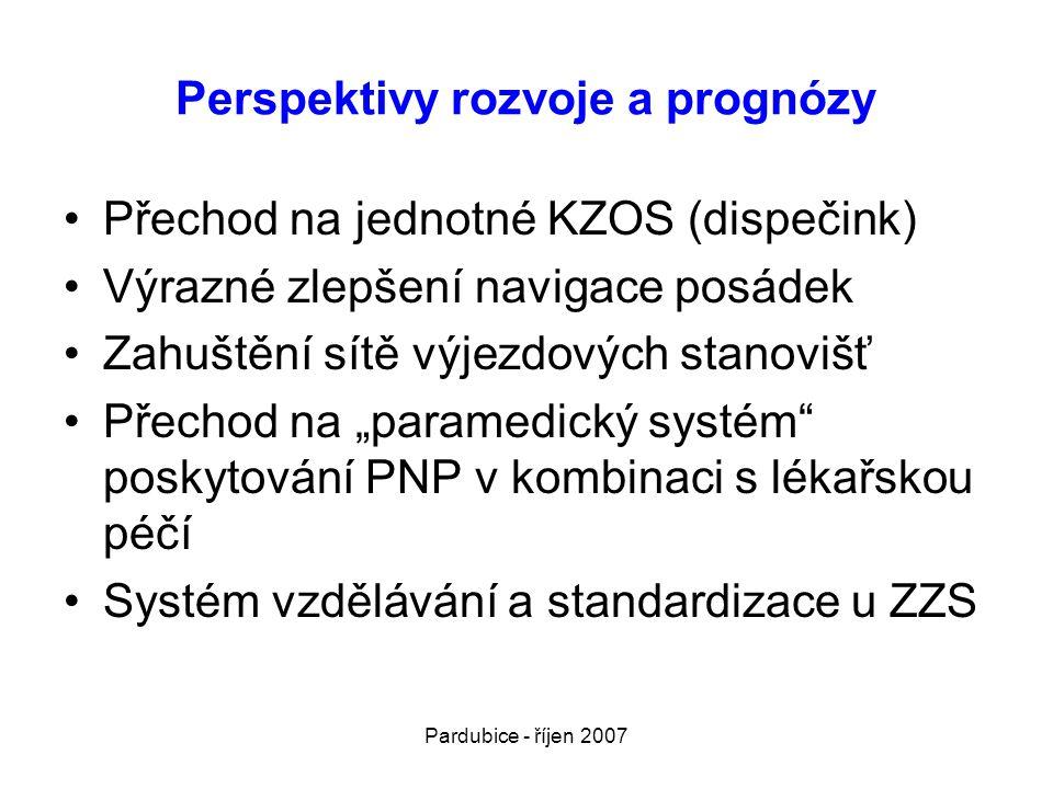 """Pardubice - říjen 2007 Perspektivy rozvoje a prognózy •Přechod na jednotné KZOS (dispečink) •Výrazné zlepšení navigace posádek •Zahuštění sítě výjezdových stanovišť •Přechod na """"paramedický systém poskytování PNP v kombinaci s lékařskou péčí •Systém vzdělávání a standardizace u ZZS"""