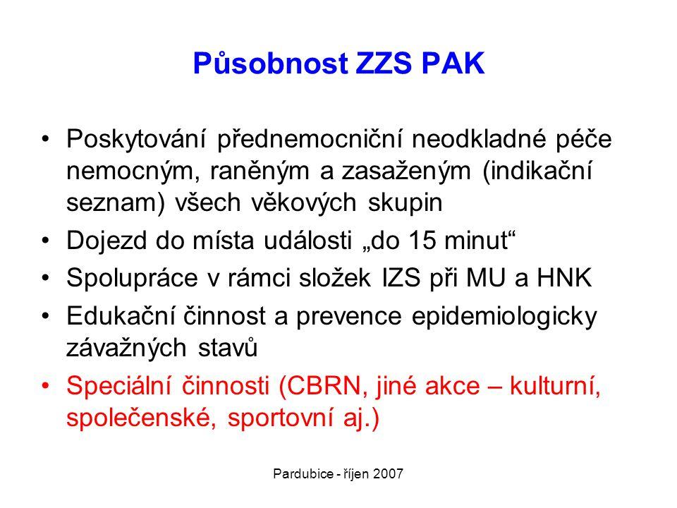 Pardubice - říjen 2007 Působnost ZZS PAK •Poskytování přednemocniční neodkladné péče nemocným, raněným a zasaženým (indikační seznam) všech věkových s